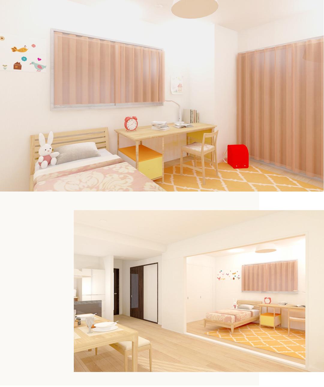 アス西早稲田南ウイングの洋室3の内装事例