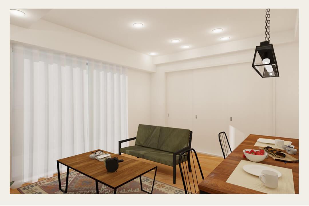 学芸大学パインマンションのリビングダイニングの内装事例