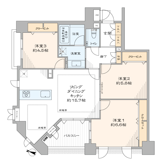 グランシティ日本橋人形町 収納豊富で開放感のある部屋