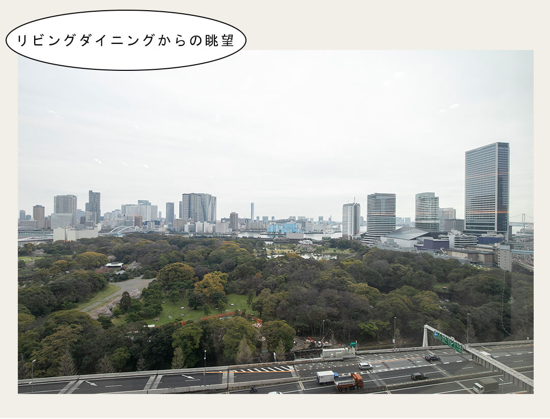 東京ツインパークレフトウイングのリビングダイニングからの眺望