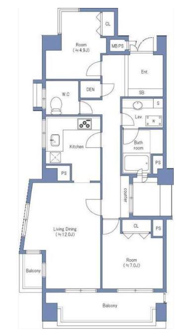 都立大学 上層階の角部屋で開放的な暮らし