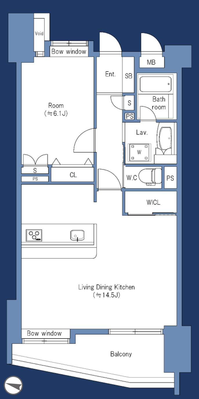 早稲田 収納豊富な部屋 間取り図