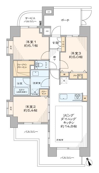 リビオレゾン目白通り 東南角部屋、収納豊富な3LDK