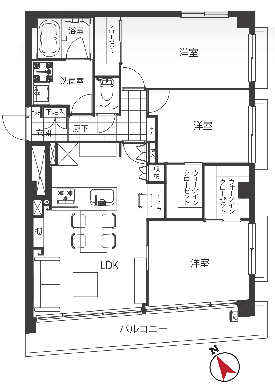 武蔵野サマリヤマンション 南東角部屋で開放感たっぷり
