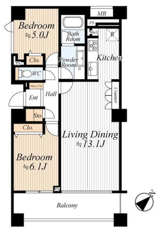 グランドメゾン武蔵小山 ホワイトとブラウンで統一された家具付き物件