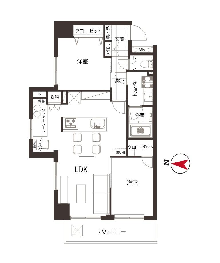 共栄ハイツ東高円寺 デスクとソファ、自分にあった暮らし