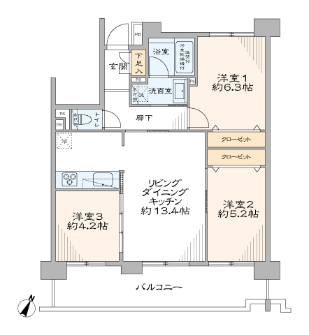 阪東橋 立地も陽当たりも良い部屋 間取り図