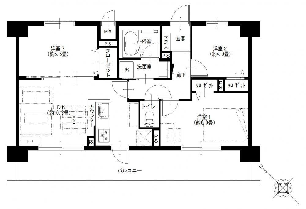 平沼橋 3つの部屋からアクセスできる、15.60㎡の広々バルコニー
