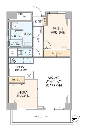 蒲田 日当たり良好な最上階角部屋 間取り図