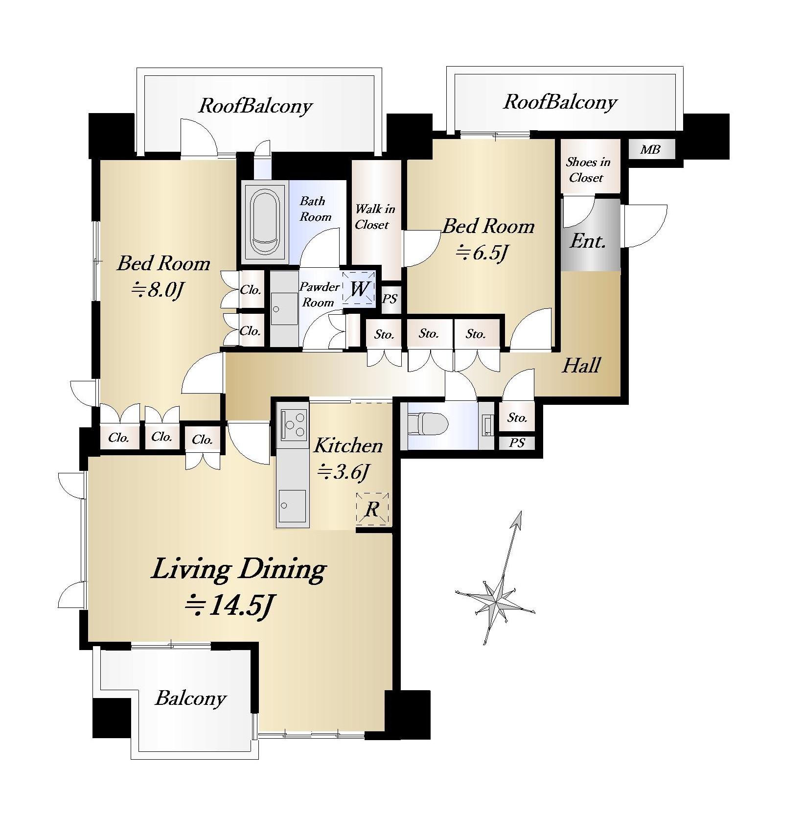 パークナード南麻布 三面採光で風通しの良い部屋