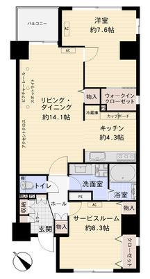 西新宿 新宿新都心で愛犬と居心地のよい暮らし 間取り図
