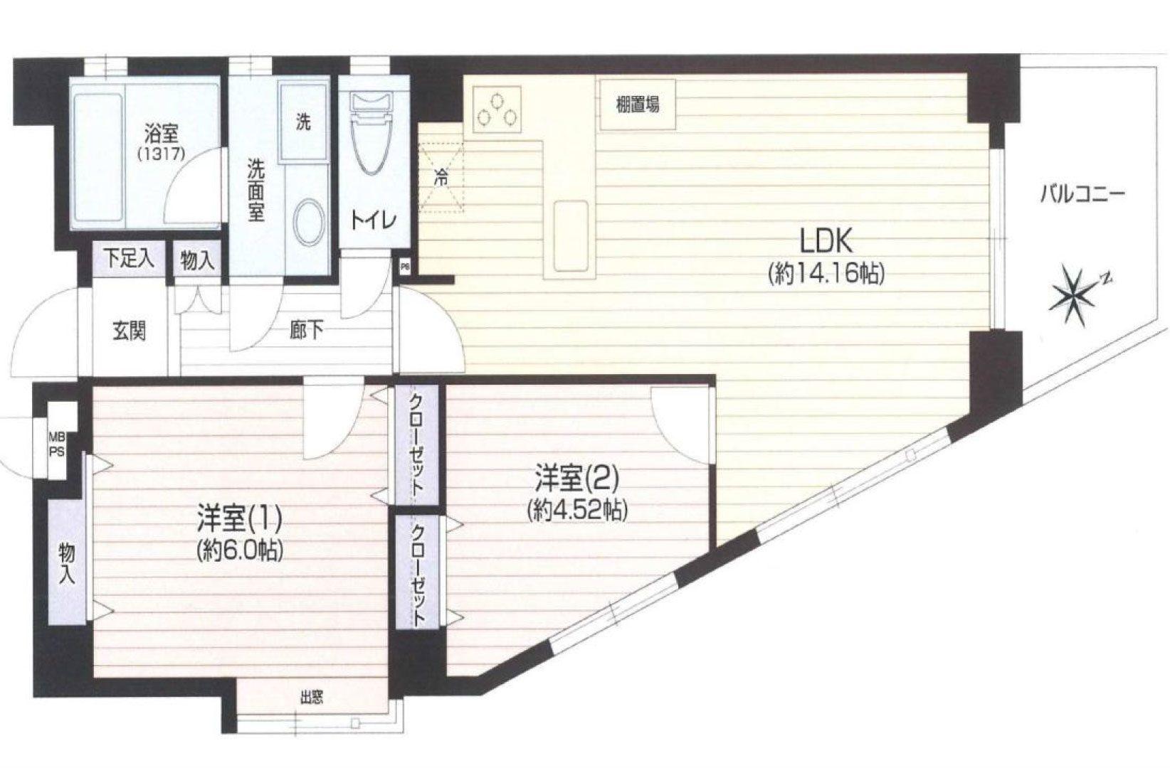 新丸子 モナークマンション武蔵小杉Ⅱプラチナコート 間取り図
