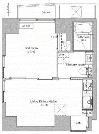 末広町 仕事場にも住居にも使える快適なスモールオフィス 間取り図