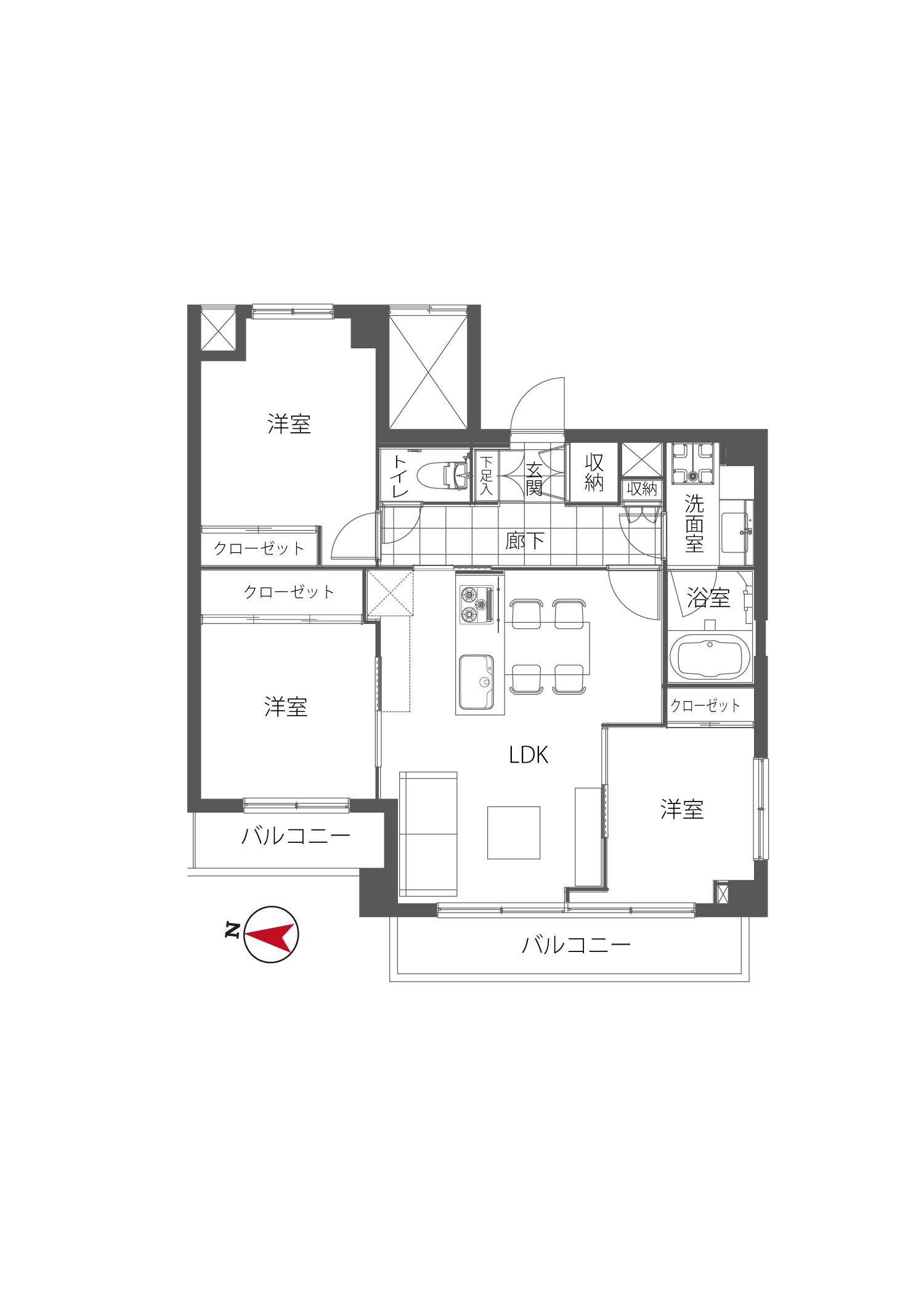 中野坂上 最上階角部屋でストレスフリー 間取り図