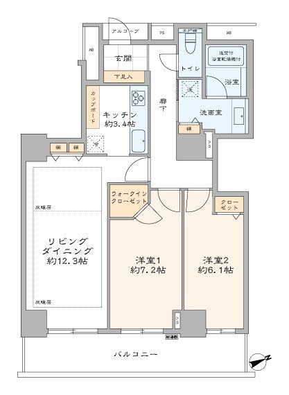新宿御苑前 限られた住まいを広く、豊かに 間取り図