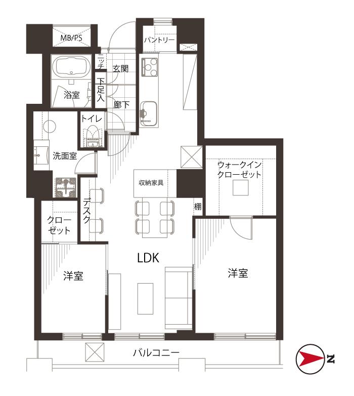 新大久保 収納豊富なキッチンスペース 間取り図