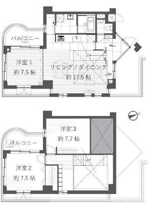 桜新町 憧れのヘリンボーンで上質な空間に 間取り図