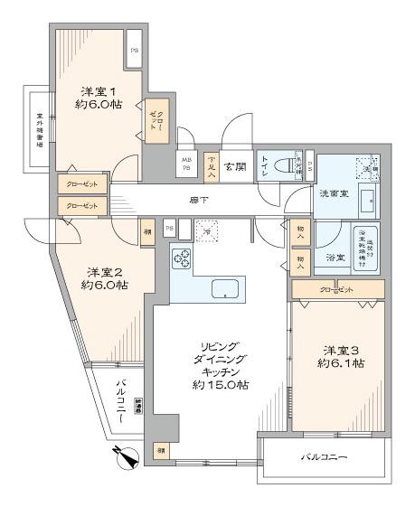 護国寺 全室インナーサッシで快適空間 間取り図