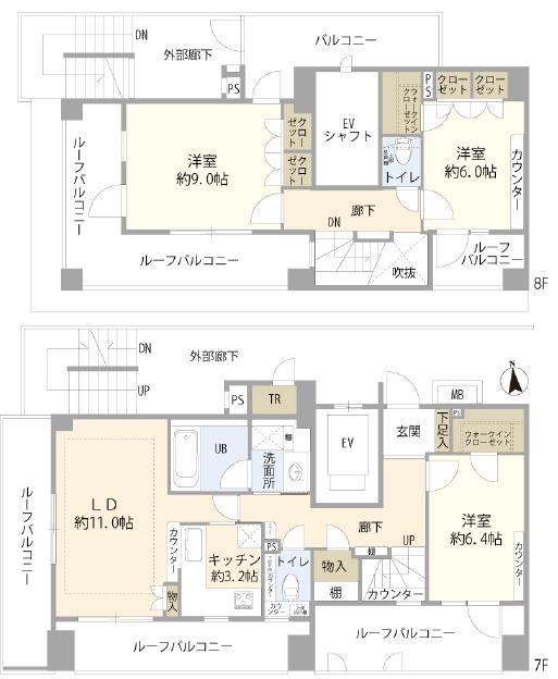 麻布十番 ルーフバルコニーに囲まれた角部屋メゾネットタイプ 間取り図