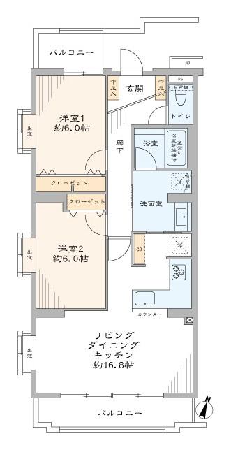 駒沢大学 ワイドスパンで明るく開放的 間取り図