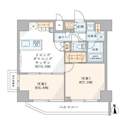 浜松町 光を取り込む、最上階・角部屋の住まい 間取り図