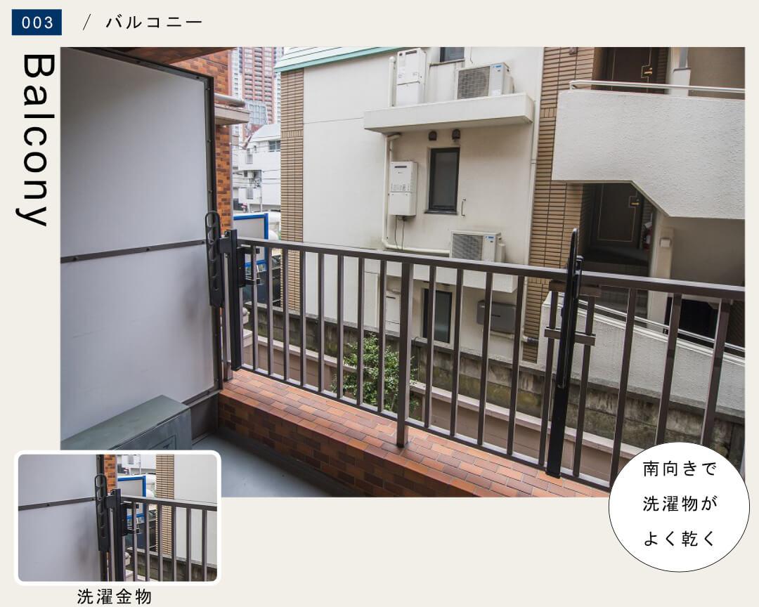 六本木アビタシオン 202号室のバルコニー