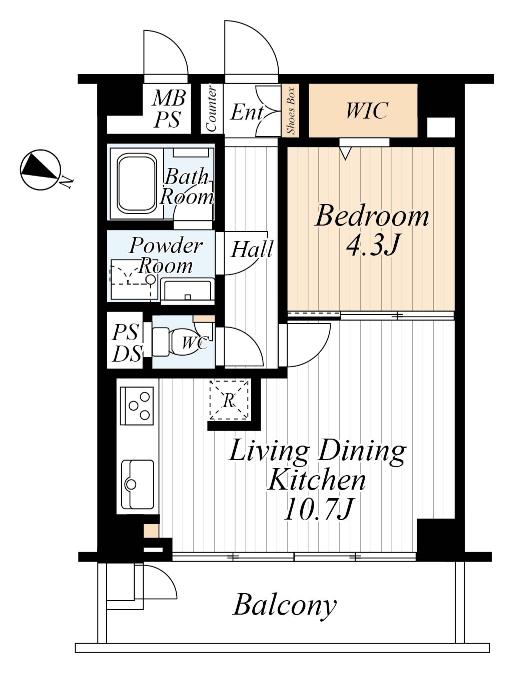 千川 壁付けキッチンで、空間をより広々と 間取り図