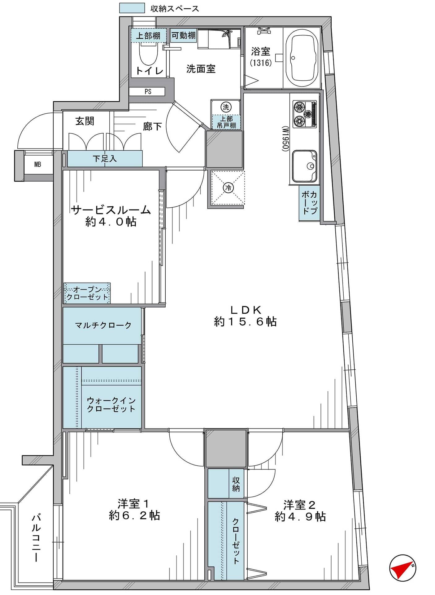 築地 ゆったりLDKと豊富な収納 間取り図