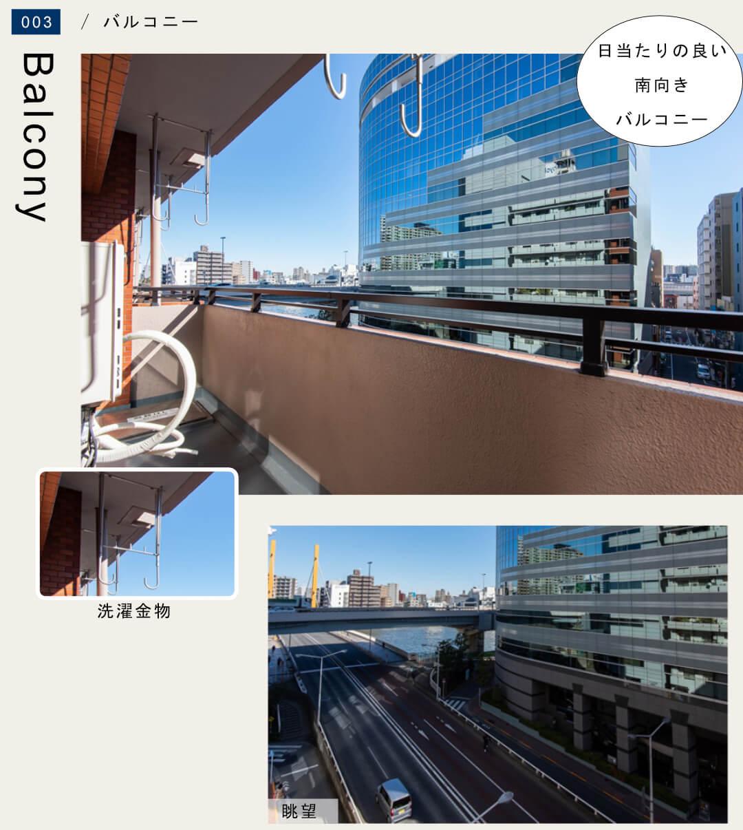 ブリリアンス日本橋浜町 602号室のバルコニー
