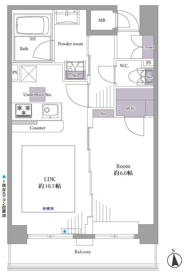 牛込柳町 駅近で生活しやすい立地 間取り図