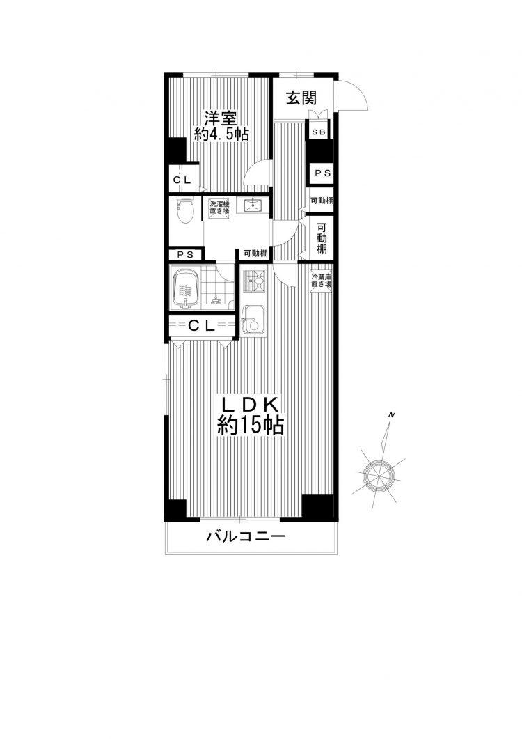 八丁堀 15帖のゆったりLDK 間取り図