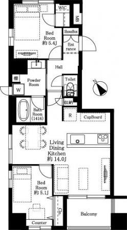 小伝馬町 ぬくもり溢れる空間でメリハリのある暮らし 間取り図