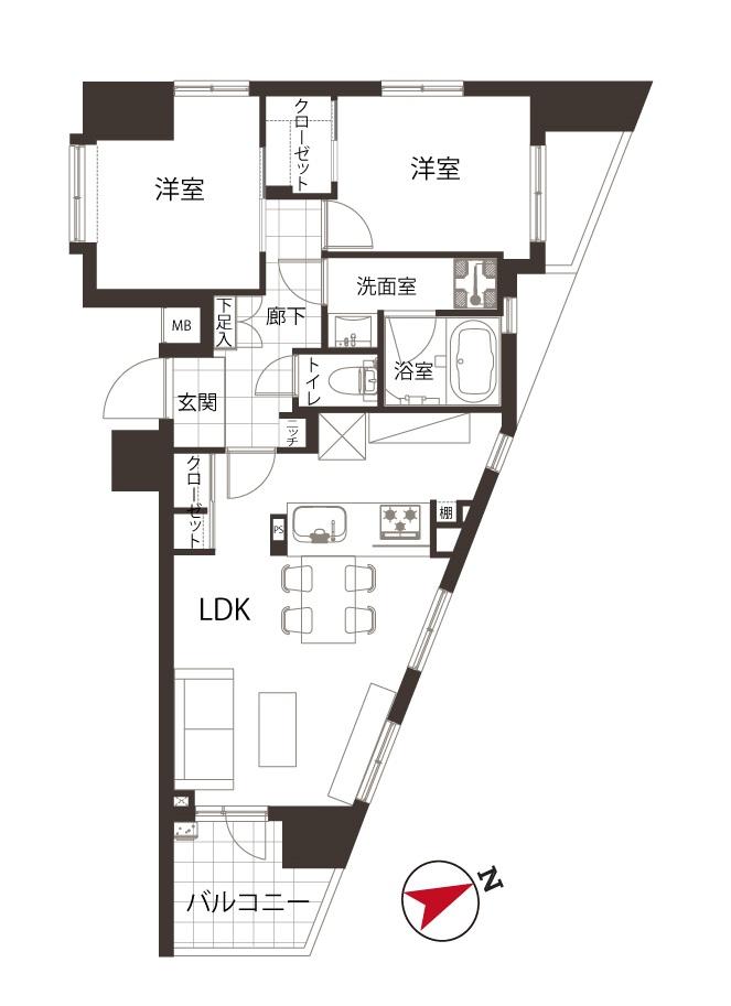 西荻窪 13階からの抜ける眺望 間取り図