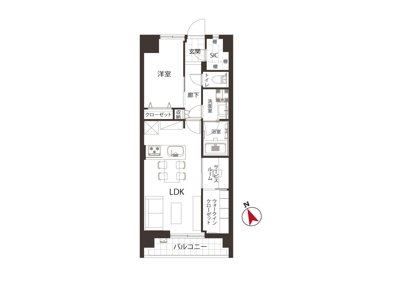 渋谷 空間を楽しむためのウォールデコ 間取り図