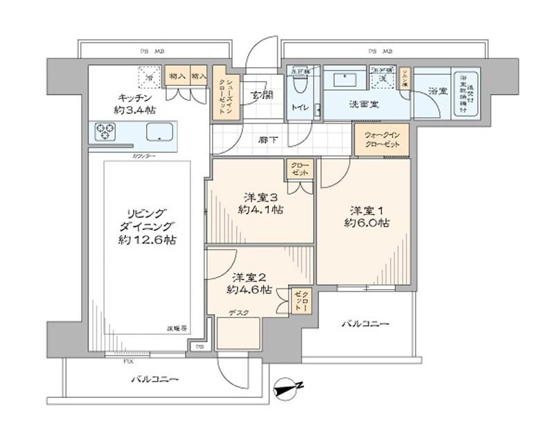 東中野 タワーマンションで安心・快適な暮らし 間取り図