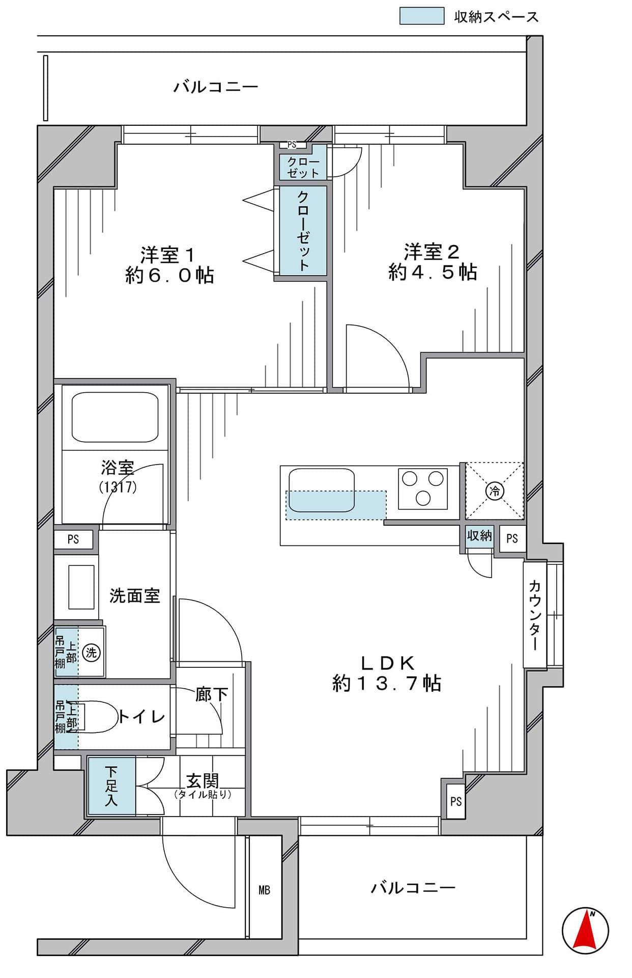 西新宿五丁目 都心の便利さと静かな住環境が叶う 間取り図
