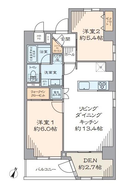 浅草 南東角部屋の心地よい住まい 間取り図