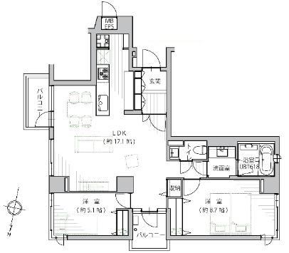 プレステージ三軒茶屋 折り上げ天井で空間を演出
