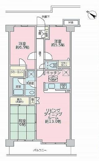 幡ヶ谷 リビングとキッチン、家族の会話をつなぐ窓 間取り図