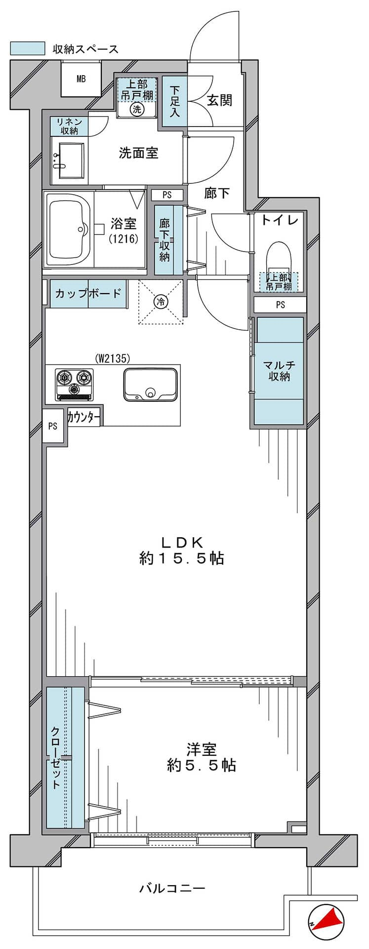 高田馬場 ペットと過ごす、ゆとりある1LDK 間取り図