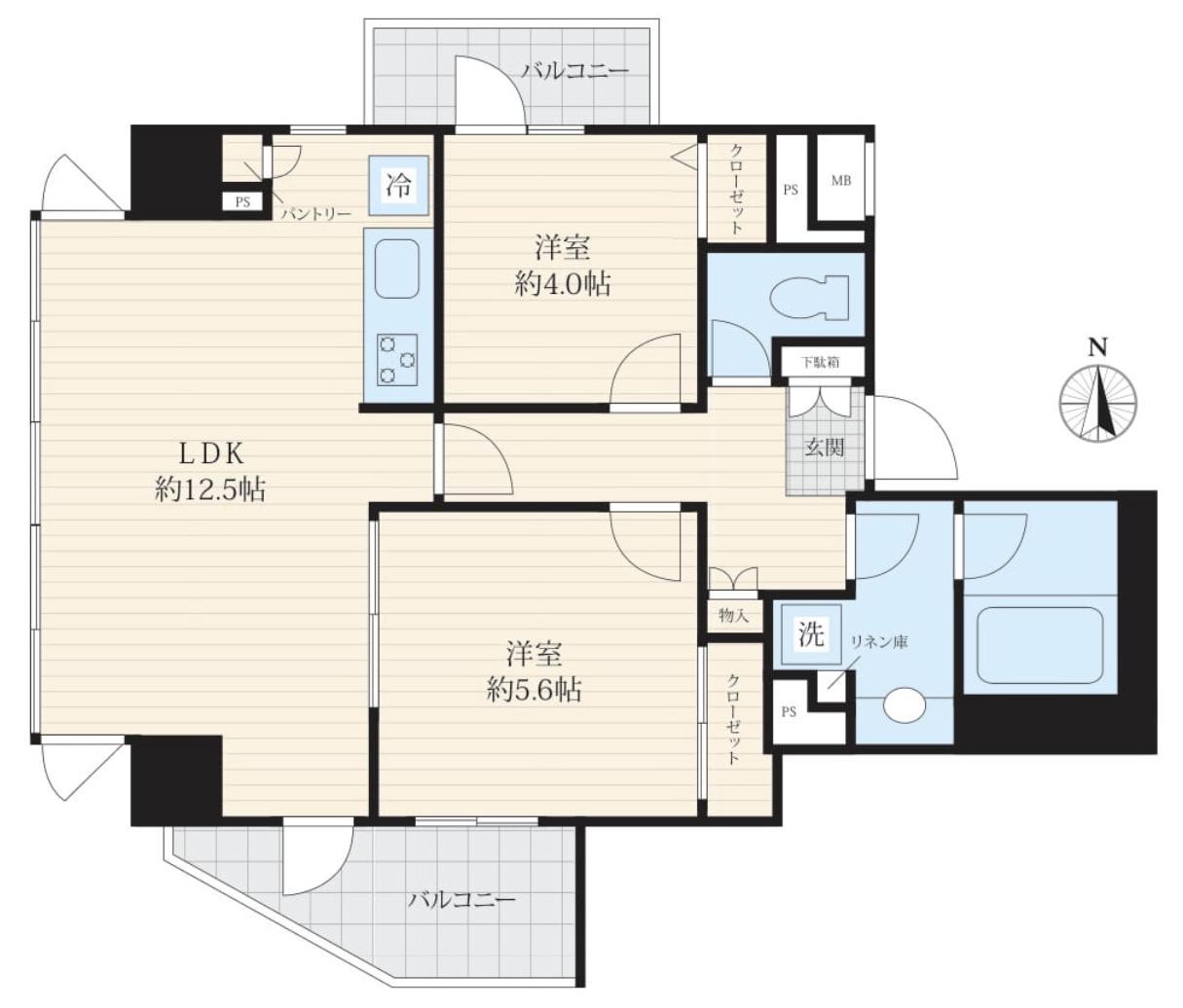 用賀 12階で窓に囲まれた開放的なお部屋 間取り図