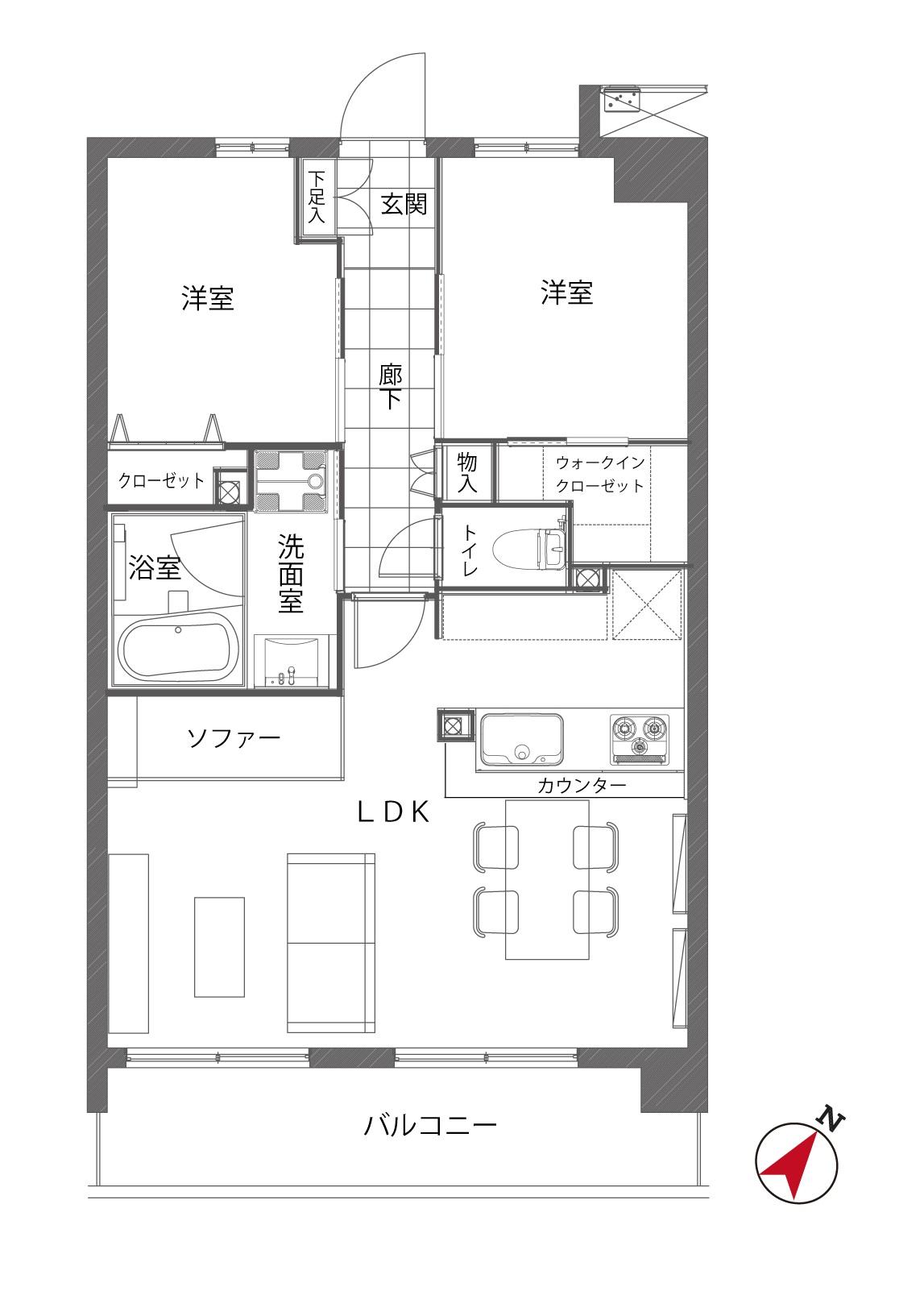 参宮橋 広々LDKでメリハリある暮らし 間取り図