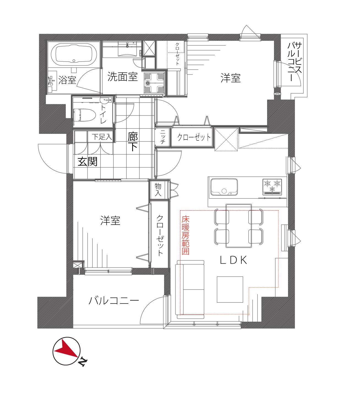 赤坂 都会の中心、洗練された住まい 間取り図