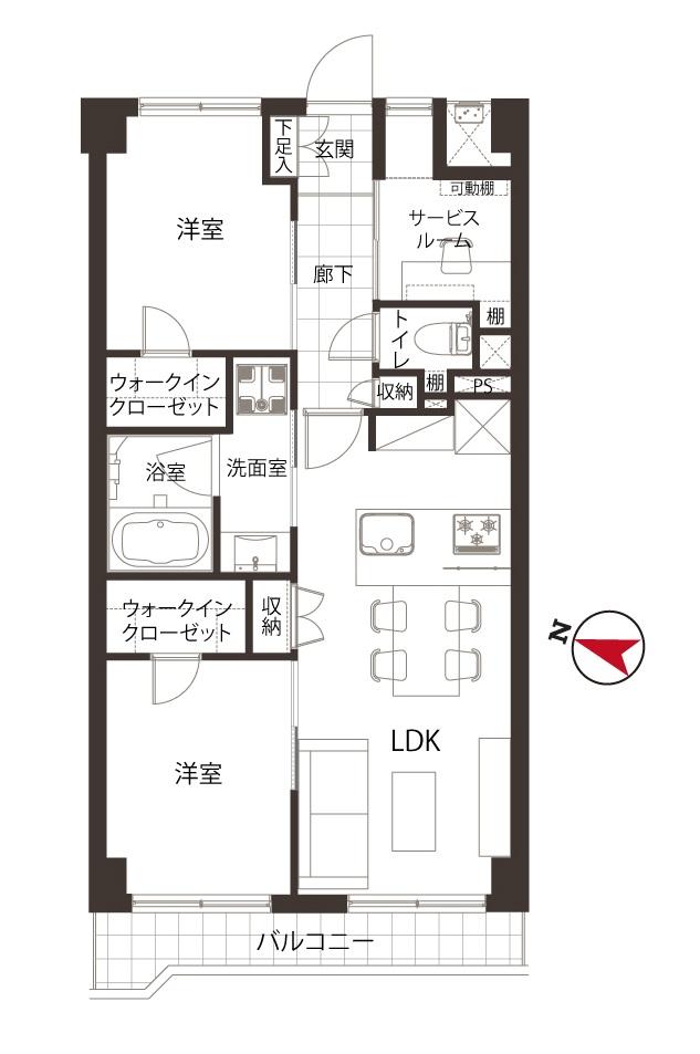 大崎 2つのWICですっきりホテルライクな居住空間 間取り図