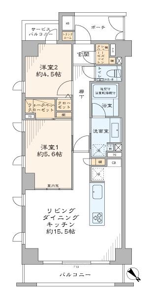 中目黒 空間をゆるやかに繋ぐ室内窓 間取り図