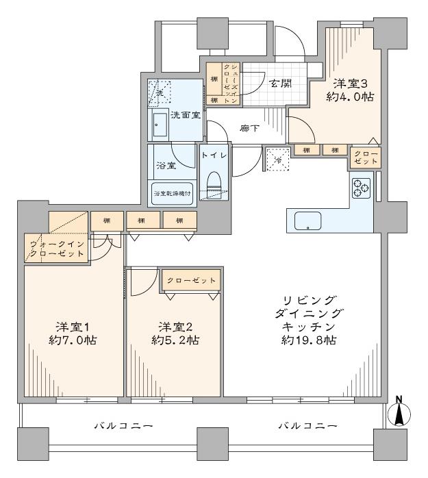 高田馬場 総戸数587戸のトリプルタワーマンション 間取り図