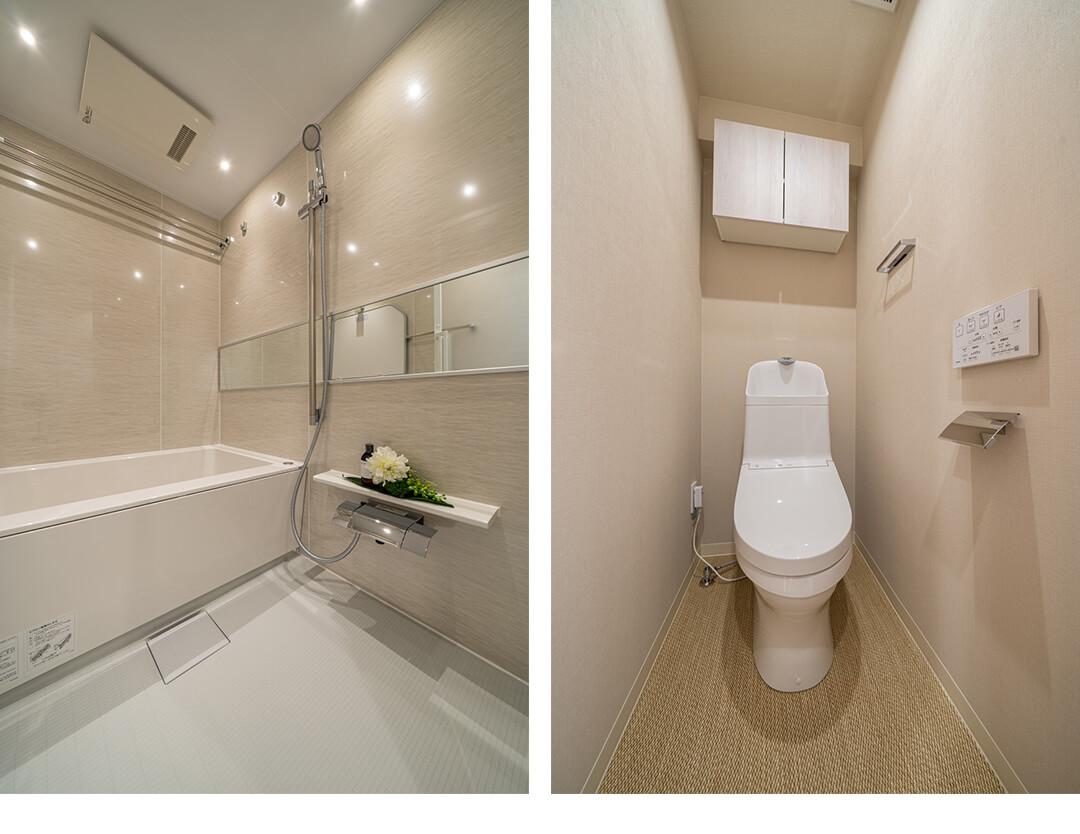 新宿パークサイド永谷の浴室とトイレ
