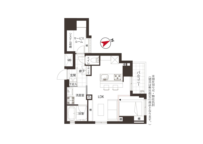 広尾 コンパクトで暮らしやすい部屋 間取り図