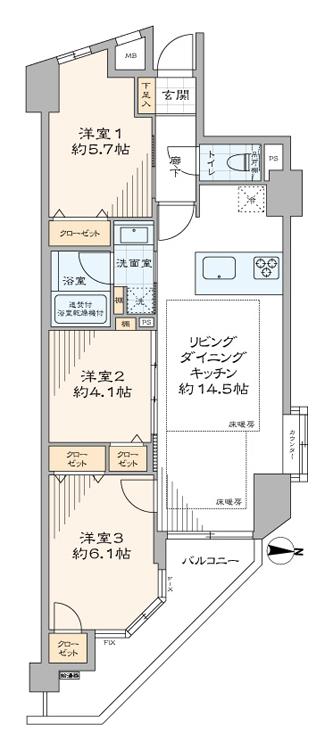 阿佐ヶ谷 ペットと暮らせる角部屋3LDK 間取り図