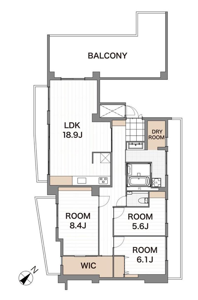 大森 全居室バルコニーに面した開放感あふれる部屋 間取り図